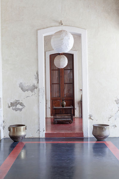 A doorway in The Villa Helena, an upscale Heritage Hotel, Pondicherry, India