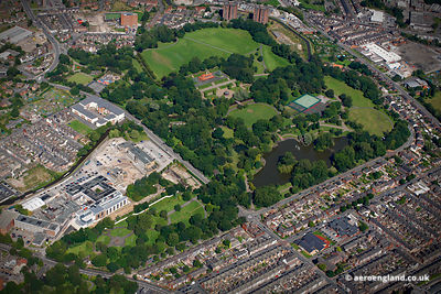 aerial photograph of Hanley Park  Stoke-on-Trent, Staffordshire UK