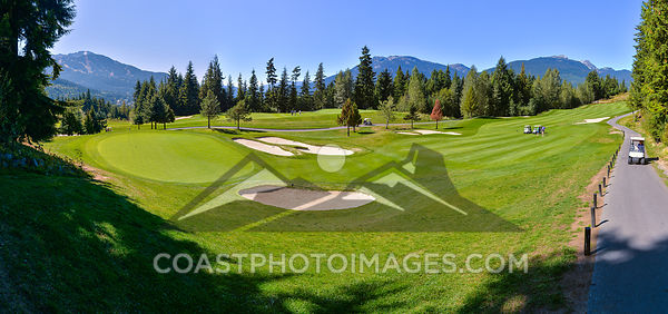 September 11, 2015: Whistler BC. A scenic view of Whislters Nicholas North golf course on a hot summer day. Photo by Scott Brammer - coastphoto.com