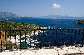 Spilia Bay and harbour from Spartochri, Meganisi Island, Lefaka, Ionian Islands, Greece.