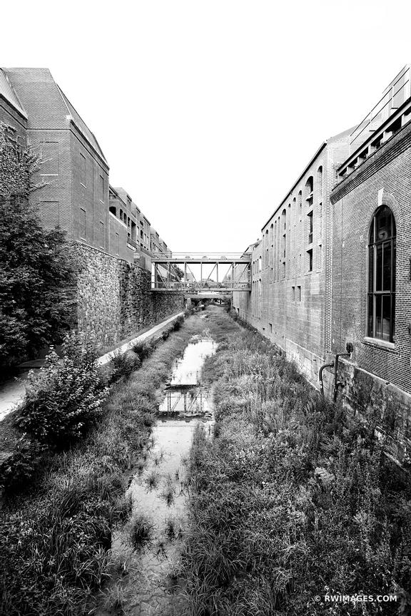 C & O CANAL GEORGETOWN WASHINGTON DC BLACK AND WHITE VERTICAL