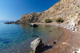Hidden beach close to Red Sand Bay or Kokkini Ammos, near Archangelos, Rhodes, Dodecanese Islands, Greece.