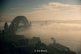 Sydney Harbour Bridge in the fog, Sydney, Australia