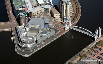 aerial photograph of the Lowry Salford Quays  Greater Manchester  England UK.