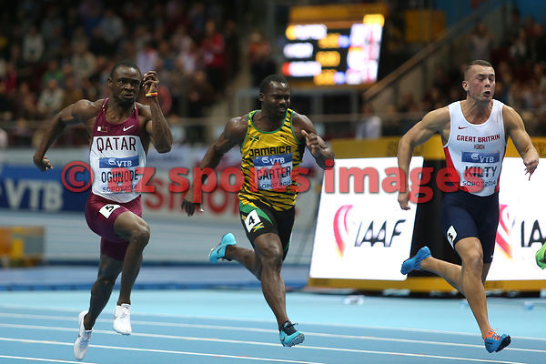 Femi OGUNODE (QAT),Richard KILTY (GBR) and Nesta CARTER (JAM)