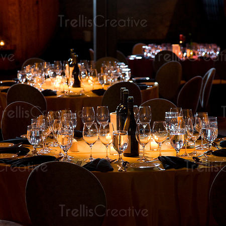 Tables set for an elegant party
