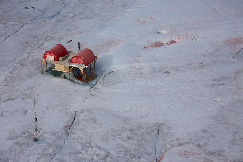 Aerial view of Swiss Camp, where CIRES Director Konrad Steffen has conducted research on the Sermersuaq / Greenland ice sheet, Greenland Ice Sheet since 1990.