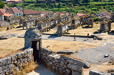 Espigueiros, the old and traditional stone granaries of Lindoso. Peneda Geres National Park, Portugal