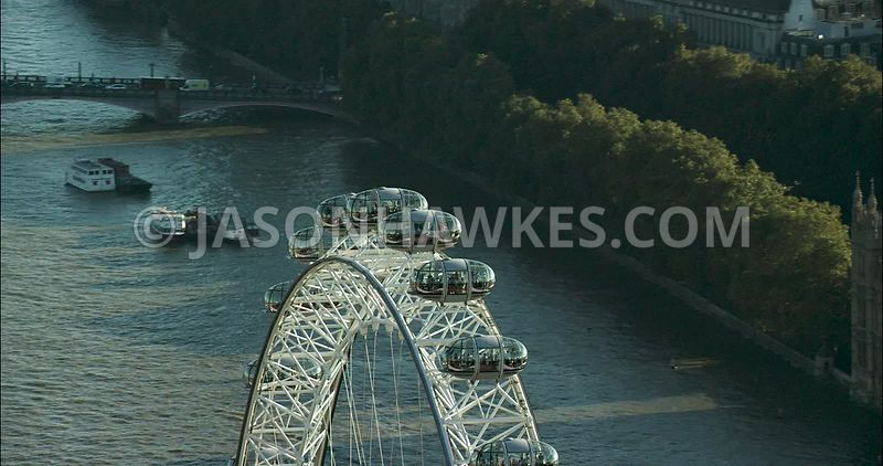 London Aerial Footage of the top of the London Eye
