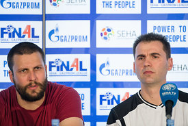 Stojance Stoilov and Raul Gonzales at the opening press conference  during the Final Tournament - Final Four - SEHA - Gazprom league, Skopje, 12.04.2018, Mandatory Credit ©SEHA/ Sasa Pahic Szabo