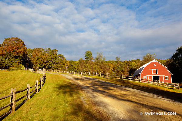 COUNTRY ROAD RED BARN VERMONT NEW ENGLAND