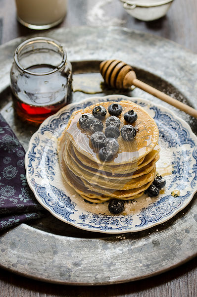 Blueberry pancake with maple syrup