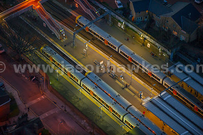 Aerial view of Highbury and Islington Station at night, London