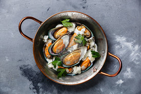 Shellfish Mussels Clams in copper cooking pan with blue cheese sauce on concrete background