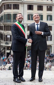 Restauration work on the famous Spanish Steps is inaugurated by Mayor of Rome ignazio Marino and CEO of Bulgari Jean-Christophe Babin