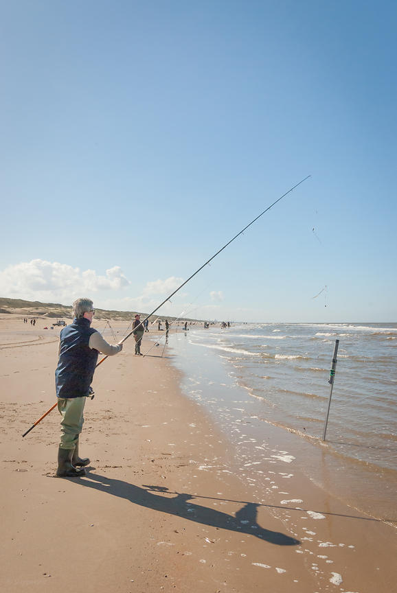 Sea fishing with a fishing rod