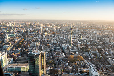 Aerial view of London, BT Tower towards Centre Point.