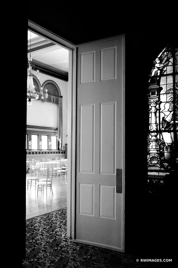 VINTAGE BALLROOM DOOR GERMANIA PLACE CHICAGO ILLINOIS BLACK AND WHITE VERTICAL