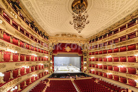The grand interior of the La Scala opera house in Milan, Italy.