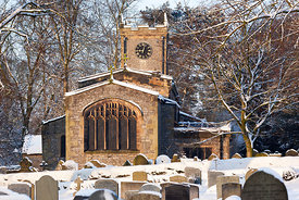 Snow at St Giles church Great Longstone