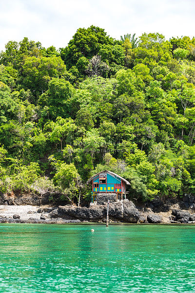 Atypical hut at the seaside in the archipelago of nosy be