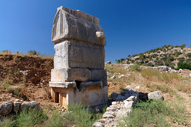 Lycian Tombs, Remains of the Ancient Lycian City of Patara near Kalkan, Lycian Coast, near Kas, Turkey, Asia.