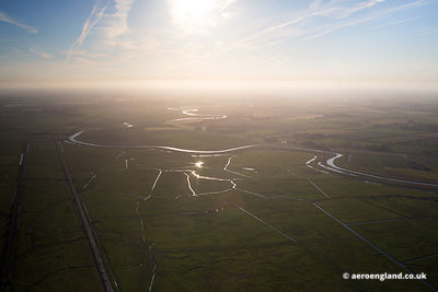 aerial photograph of Norfolk taken in the evening twilight looking west  along the River Bure