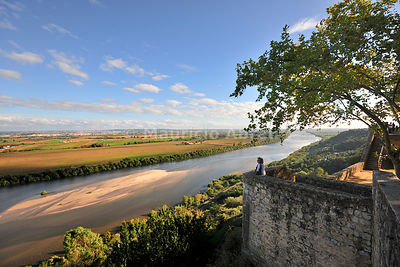 The Tagus river and the fertile plains of Ribatejo seen from Portas do Sol, Santarém. Portugal (MR)