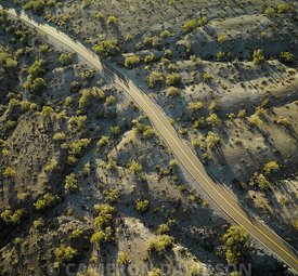 Aerial photograph of a road in a mountain valley near Phoenix, Arizona