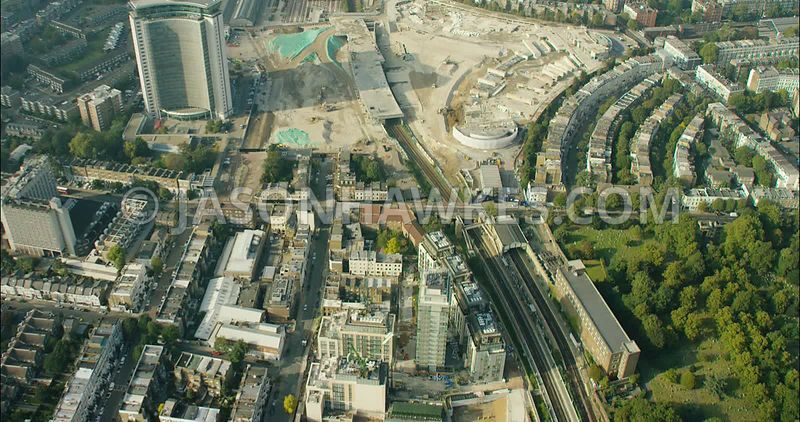 London Aerial Footage of redevelopment of Earls Court