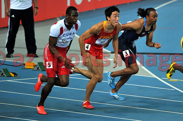 110 m Hurdles..3 Aries Merritt USA,..4 Xiang Liu CHN, 5 Dayron Robles CUB, at the 2011 IAAF World Championships,Athletics,Daegu,S.Korea