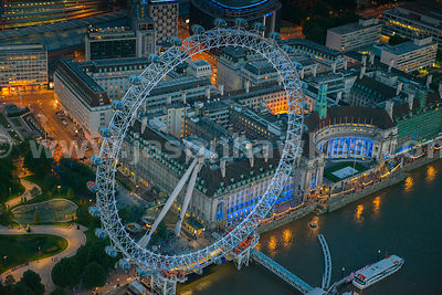 Aerial view of the London Eye at night, Southbank, London