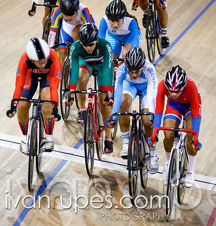 Women's Omnium Points Race. Track Day 4, Toronto 2015 Pan Am Games, Milton Pan Am/Parapan Am Velodrome, Milton, On; July 19, 2015