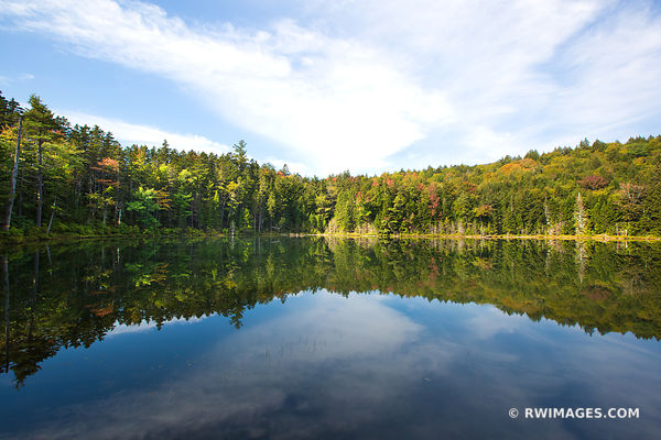 FOREST POND IN FALL WHITE MOUNTAINS NEW HAMPSHIRE COLOR LANDSCAPE