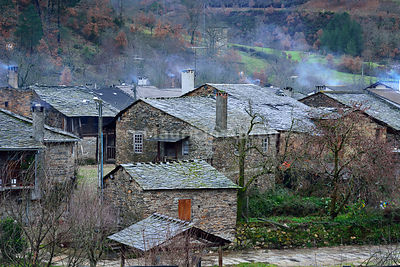 Rio de Onor, an old traditional village, all built in schist, in the north of Portugal. Montesinho Nature Park, Trás-os-Montes.