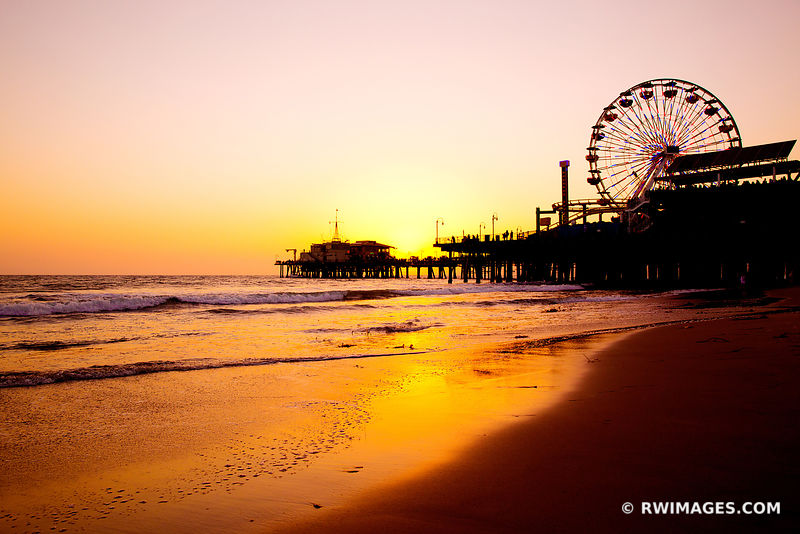 SANTA MONICA BEACH PIER SUNSET LOS ANGELES CALIFORNIA COLOR