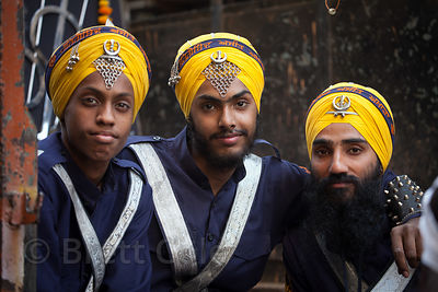 Sikh men in a parade in the Paharganj area of Delhi, India