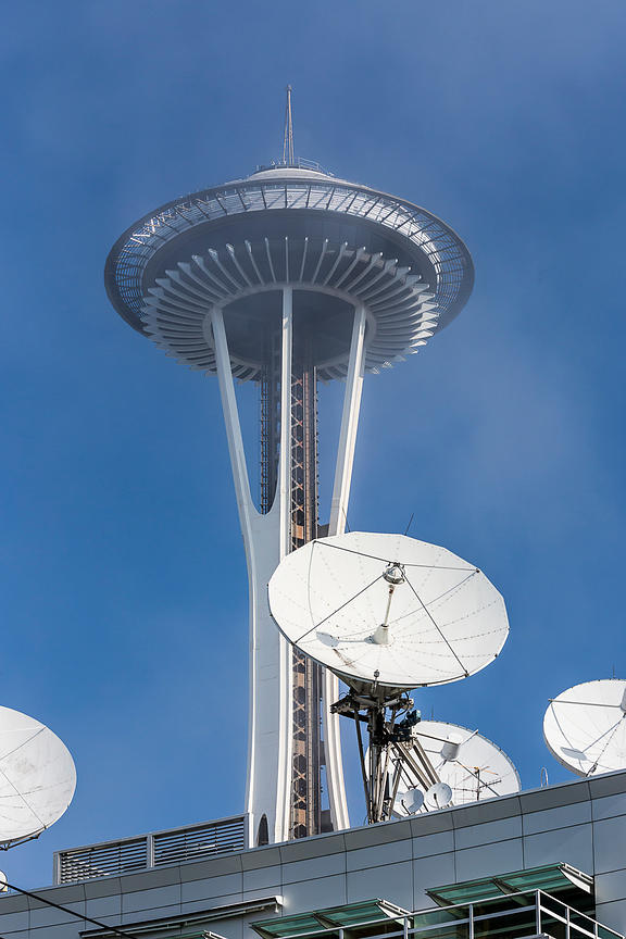 Space Needle and Satellite Dishes in Seattle
