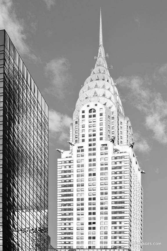 CHRYSLER BUILDING MANHATTAN NEW YORK CITY BLACK AND WHITE VERTICAL