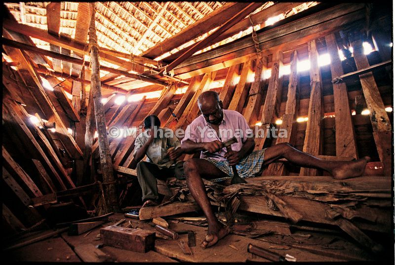 Craftsmen in the dhow yard in Beypore, Kerala, still build ships the old-fashioned way - by hand, out of Murmese teak without written plans,