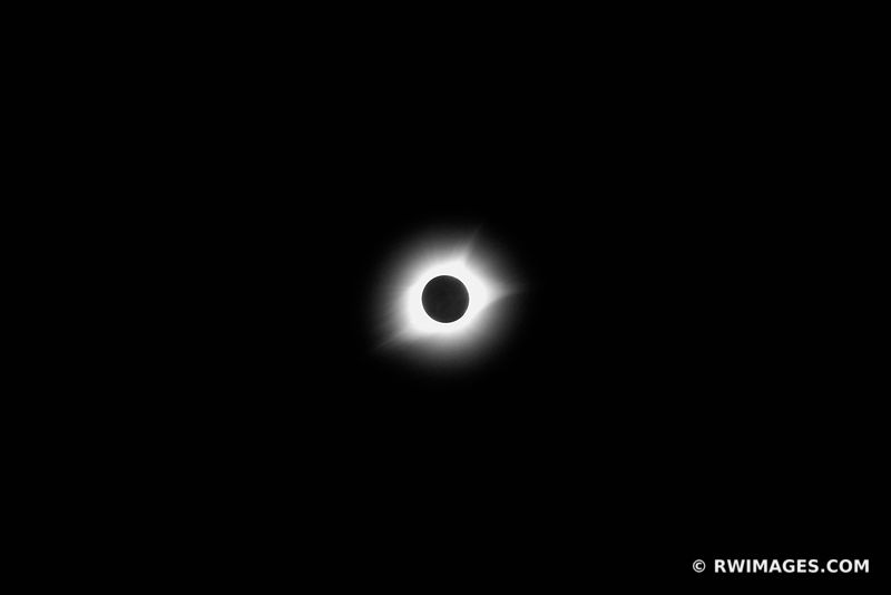 TOTAL SOLAR ECLIPSE CORONA BLACK AND WHITE