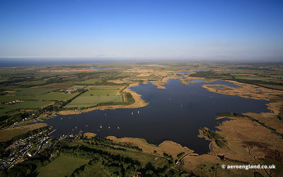 aerial photograph of Hickling Broad on the Norfolk Broads in England
