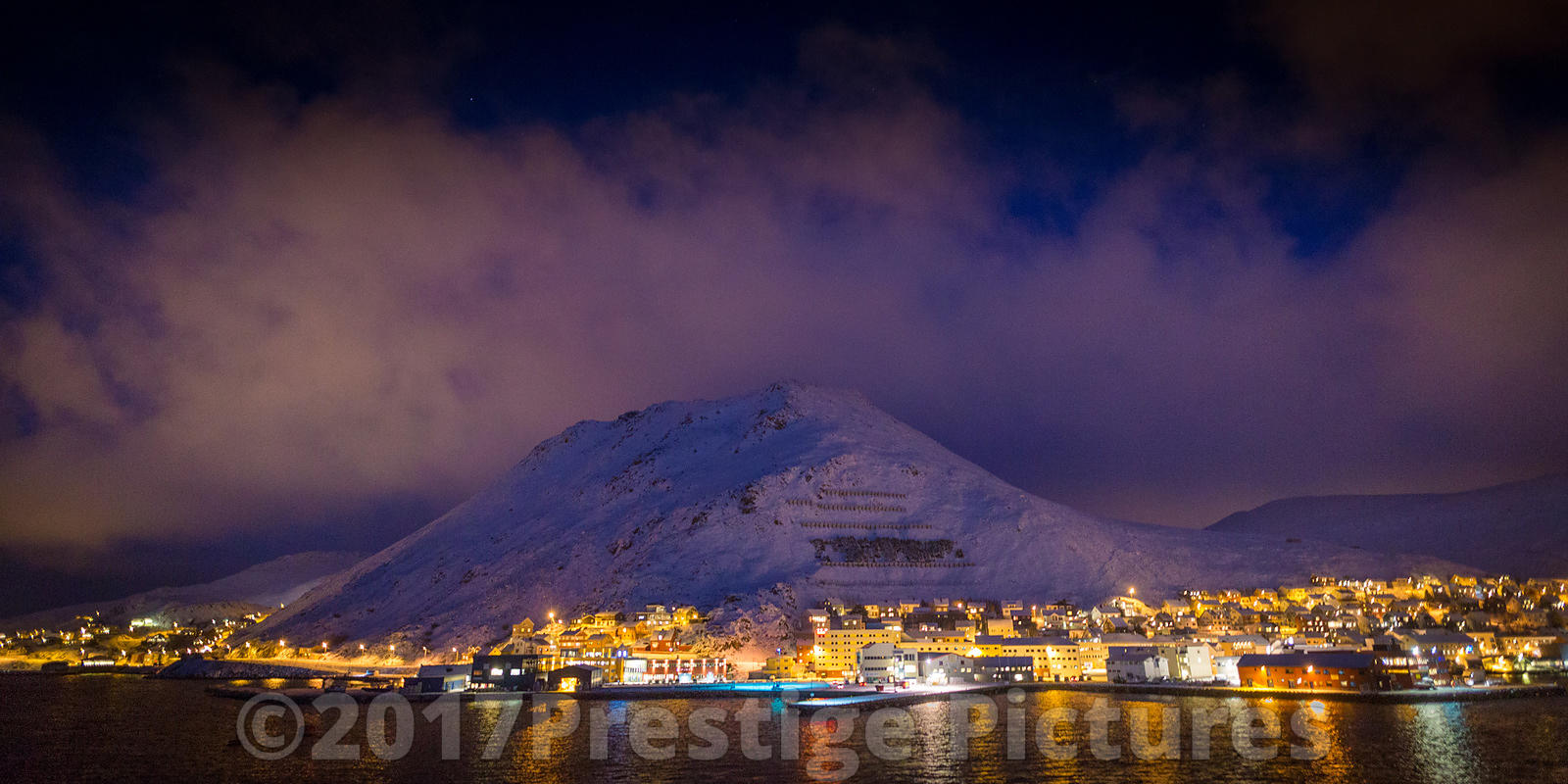 Night view over Honningsvåg inside the Arctic Circle in Norway