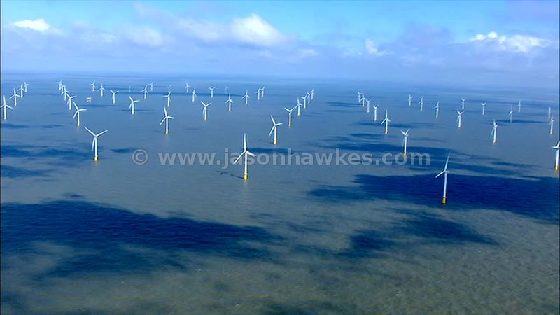 Aerial footage of plane flying over Kentish Flats wind farm