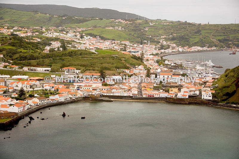 Hillside view of Horta harbour