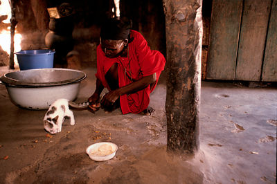 Asumpaheme in her hut at midday playing with her cat
