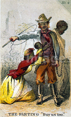 Card depicting slaves separated from family
