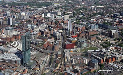 aerial photograph of l  Manchester England UK.