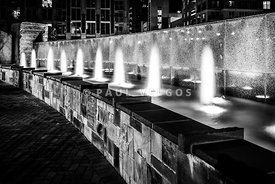 Romare Bearden Park Fountain Black and White Photo