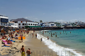 Beach in the centre of Playa Blanca, Lanzarote, Canary Islands, Spain.